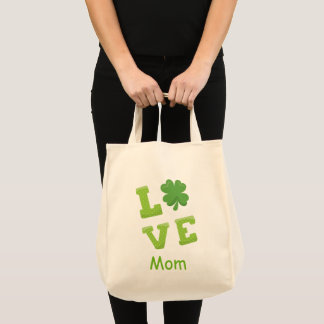 Love Mom Green Block Letters St Patricks Holiday Tote Bag