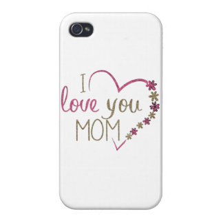 Love Mom Mothers Day Heart Cover For iPhone 4