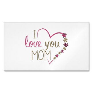 Love Mom Mothers Day Heart Magnetic Business Card