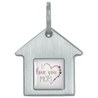 Love Mom Mothers Day Heart Pet Tag