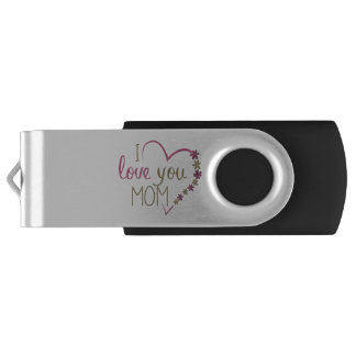 Love Mom Mothers Day Heart USB Flash Drive