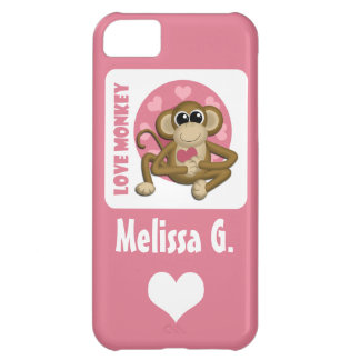 Love Monkey - Cute Personalized Pink iPhone 5 Case