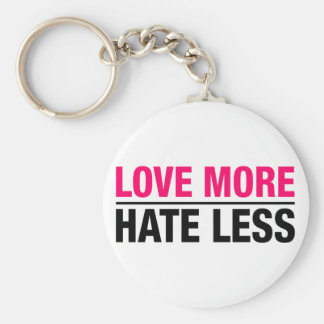 Love More Hate Less Basic Round Button Keychain
