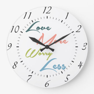 Love More Worry Less - Inspirational Quote Clock