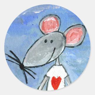 Love Mouse Round Sticker