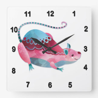 Love Mouse Square Wall Clock