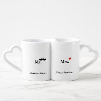 love mr mrs personalized name coffee mug set