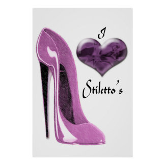 Love Mulberry Pink Stiletto and 3D Heart Poster