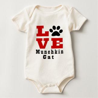 Love Munchkin Cat Designes Baby Bodysuit