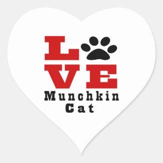 Love Munchkin Cat Designes Heart Sticker