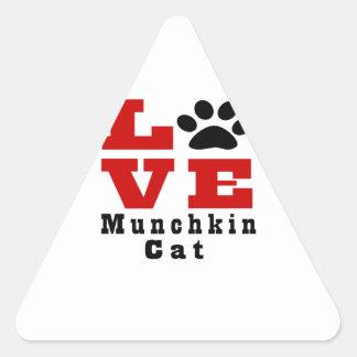 Love Munchkin Cat Designes Triangle Sticker