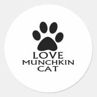 LOVE MUNCHKIN CAT DESIGNS CLASSIC ROUND STICKER
