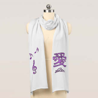 Love Music Symbols with Chinese Character Scarf