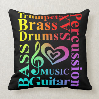 Love Music Themed Typography Colorful Text Graphic Throw Pillow
