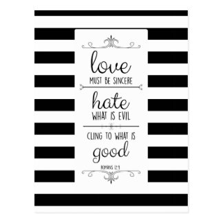 love must be sincere memory verse postcard