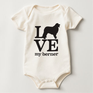 Love My Bernese Mountain Dog Baby Bodysuit