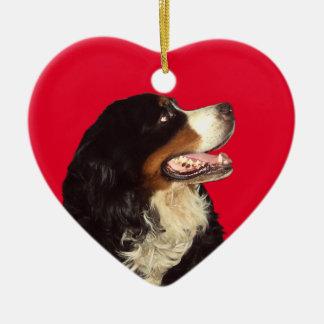 Love My Bernese Mountain Dog Ceramic Heart Ornament