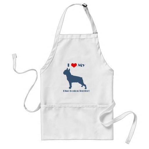 Love My Blue Boston Terrier Apron