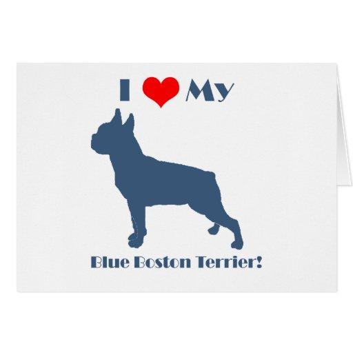 Love My Blue Boston Terrier Card
