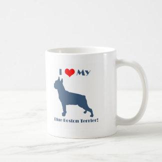 Love My Blue Boston Terrier Classic White Coffee Mug