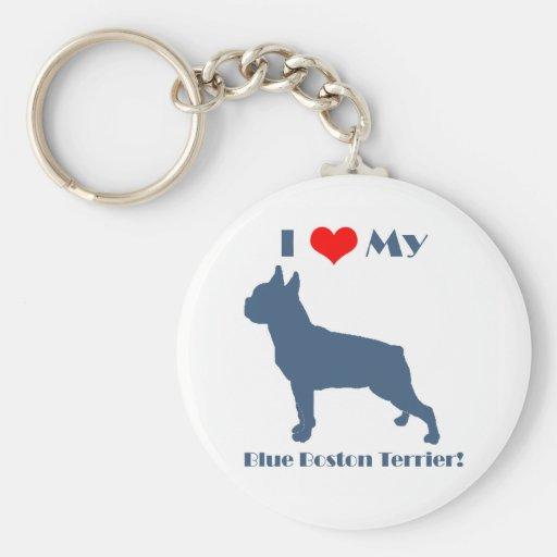 Love My Blue Boston Terrier Keychains