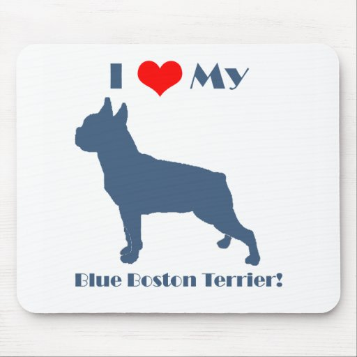 Love My Blue Boston Terrier Mouse Pad