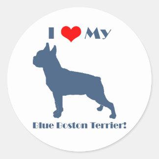 Love My Blue Boston Terrier Round Sticker