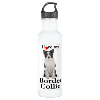 Love My Border Collie Water Bottle