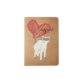 Love My Cat Illustration on Kraft Paper Passport Holder