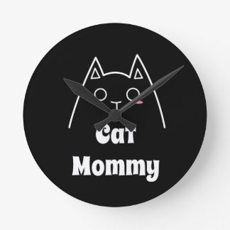 Love My Cat Mommy Round Clock