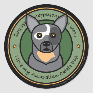 Love My Cattle Dog Classic Round Sticker