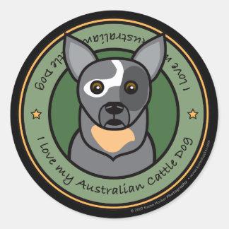 Love My Cattle Dog Round Sticker