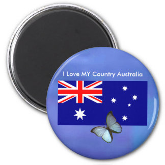 Love MY Country Australia Flag jGibney The MUSEUM 2 Inch Round Magnet
