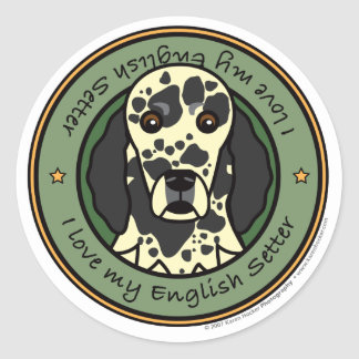 Love My English Setter Round Sticker