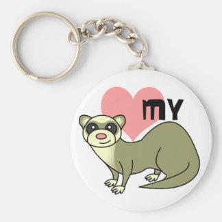 Love My Ferret Basic Round Button Keychain