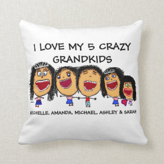 Love My Five Grandchildren Cartoon Throw Pillow