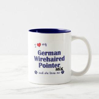 Love My German Wirehaired Pointer Mix (Female Dog) Two-Tone Coffee Mug