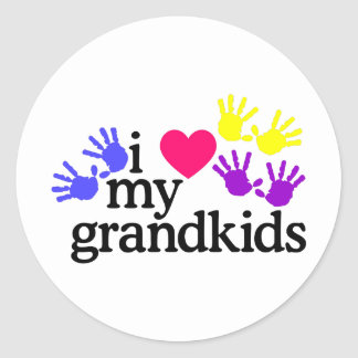 Love My Grandkids Round Sticker