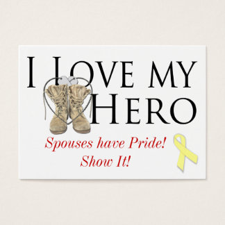 love my hero, shoe yellow ribbon, Spouses have ... Business Card