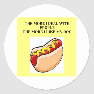 love my hot dog round sticker