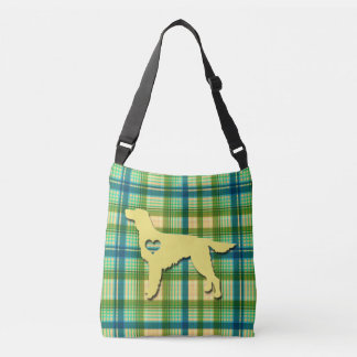 Love My Irish Setter Puppy Dog Tartan Plaid Crossbody Bag