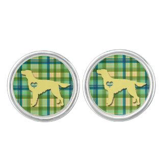 Love My Irish Setter Puppy Dog Tartan Plaid Cuff Links