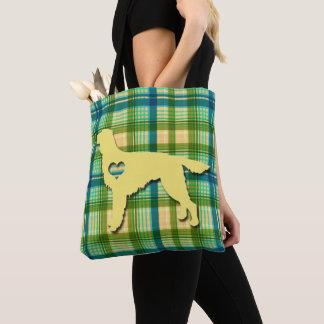 Love My Irish Setter Puppy Dog Tartan Plaid Tote Bag