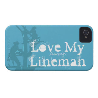 Love My Lineman {Blue} iPhone 4 Case