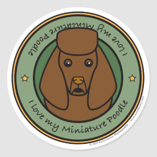 Love My Miniature Poodle Round Sticker