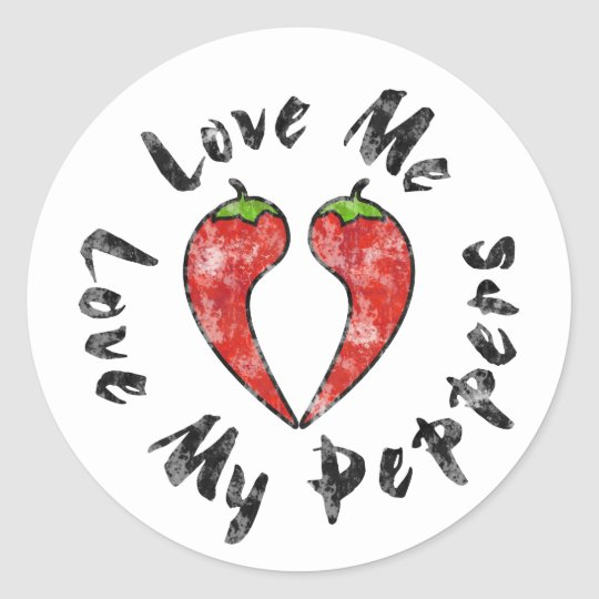 Love My Peppers Classic Round Sticker