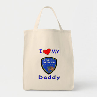 Love My Police Daddy Grocery Tote Bag