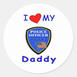 Love My Police Daddy Round Sticker