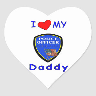 Love My Police Daddy Heart Stickers