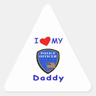 Love My Police Daddy Triangle Sticker